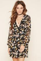 Love21 Women's  Black & Peach Contemporary Floral Dress
