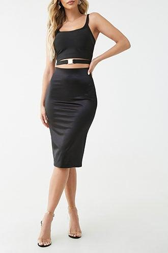 Forever21 Stretch Satin Pencil Skirt