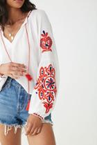 Forever21 Embroidered Ornate Top