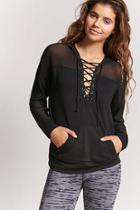 Forever21 Active Mesh-panel Lace-up Hoodie