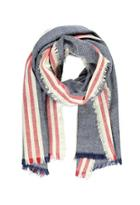 Forever21 Frayed Stripe-patterned Scarf (navy/red)