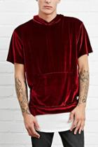 21 Men Men's  Burgundy Eptm. Hooded Velour Tee