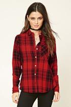 Forever21 Women's  Red & Black Tartan Plaid Shirt