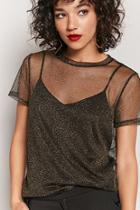 Forever21 Sheer Metallic Knit Tee