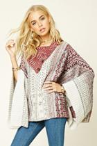 Love21 Women's  Abstract Print Poncho