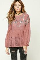 Forever21 Sequined Sheer Lace Top