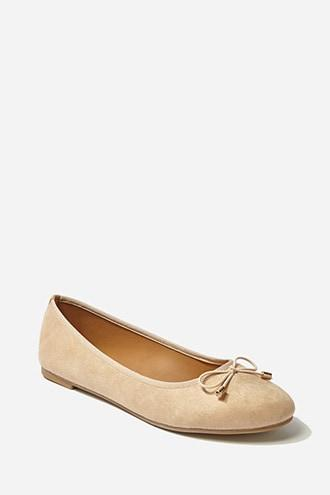 Forever21 Faux Suede Bow-front Ballet Flats