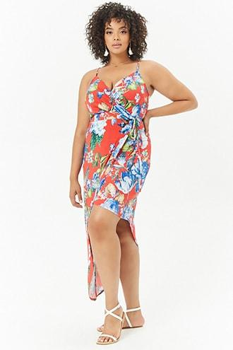 Forever21 Plus Size Floral Cami Wrap Dress