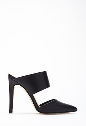 Forever21 Faux Leather Cutout Mules