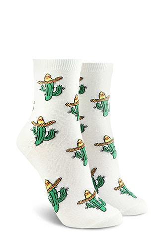 Forever21 Cactus Graphic Crew Socks