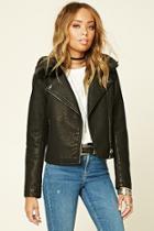 Forever21 Women's  Faux Fur Leather Moto Jacket