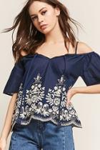 Forever21 Floral Embroidered Open-shoulder Top