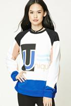 Forever21 Graphic Colorblock Sweater
