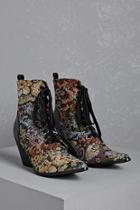 Forever21 Floral Metallic Victorian Boots