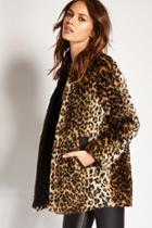 Forever21 Women's  Leopard Print Faux Fur Jacket
