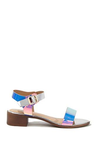 Forever21 Iridescent Faux Patent Leather Sandals