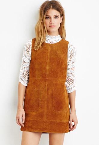 Love21 Women's  Contemporary Genuine Suede Shift Dress