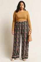Forever21 Plus Size Floral & Stripe Palazzo Pants