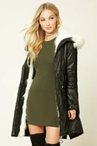 Forever21 Women's  Faux Fur Trim Hooded Parka