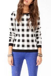 Forever21 Checkered Knit Sweater