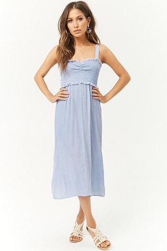Forever21 Striped Smocked Midi Dress