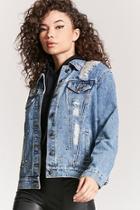 Forever21 Studded Distressed Denim Jacket