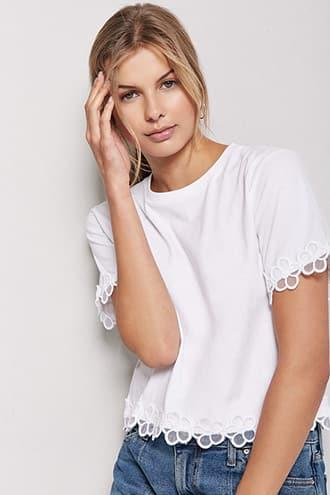 Forever21 Floral Embroidered-trim Knit Tee