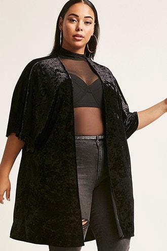 Forever21 Plus Size Crushed Velvet Cardigan