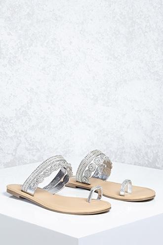 Forever21 Metallic Rhinestone Sandals