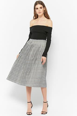 Forever21 Glen Plaid Accordion Pleated Skirt