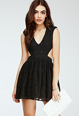 Forever21 Floral Lace Cutout Dress Black Small