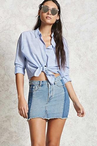 Forever21 Colorblocked Denim Mini Skirt