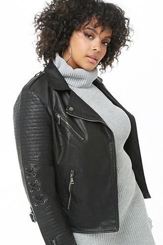 Forever21 Plus Size Faux Leather Lace-up Moto Jacket