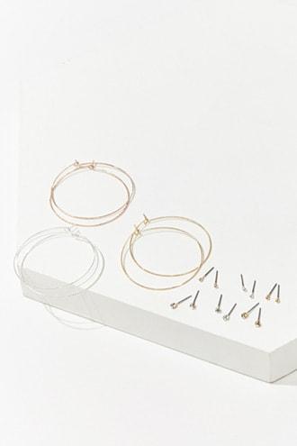 Forever21 Etched Stud & Hoop Earrings Set