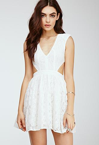 Forever21 Floral Lace Cutout Dress Ivory Small