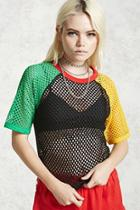 Forever21 Mesh Colorblock Top