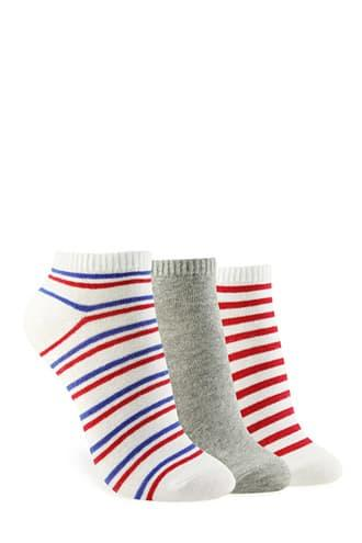 Forever21 Multi-stripe Ankle Socks - 3 Pack