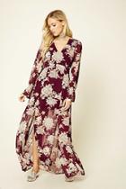 Love21 Women's  Wine & Mauve Contemporary Floral Maxi Dress