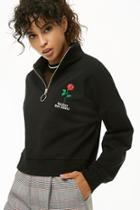 Forever21 Rose Embroidered Pullover
