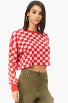 Forever21 Checkered Waffle-knit Top