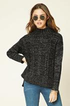 Forever21 Women's  Marled Knit Mock Neck Sweater