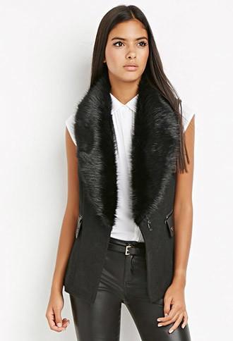 Love21 Faux Fur-collar Vest