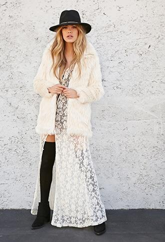 Forever21 High-collar Faux Fur Jacket