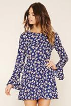 Love21 Women's  Navy & Beige Contemporary Floral Dress