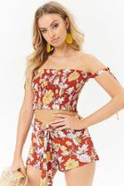 Forever21 Floral Print Crop Top & Shorts Set