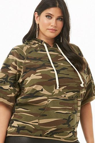 Forever21 Plus Size Camo Print Hooded Top