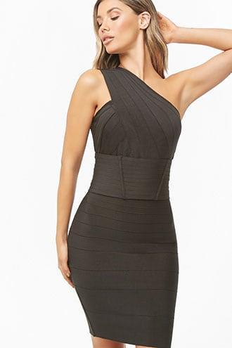 Forever21 One-shoulder Cutout Bandage Dress