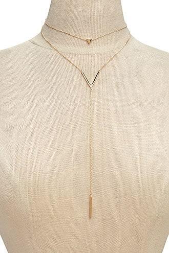 Forever21 Chevron Pendant Layer Necklace