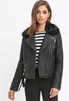 Forever21 Faux Fur Moto Jacket
