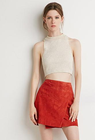 Love21 Genuine Suede Origami Skirt